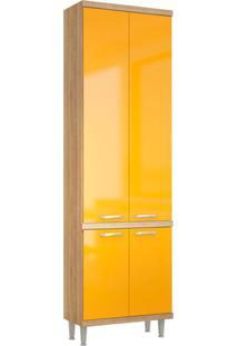 Paneleiro Kiko 4 Pt Argila Texturizado E Iacca Amarelo