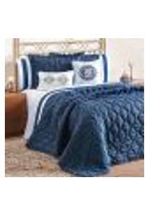 Kit Cobre Leito King Azul Marinho Clássico 7 Peças Completo Com Porta Travesseiro E Almofadas Decorativas