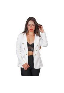 Blazer Feminino Preto Social Alongado Luxo Casaco Branco