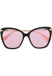 Gucci Eyewear Óculos De Sol Oversized - Neutro