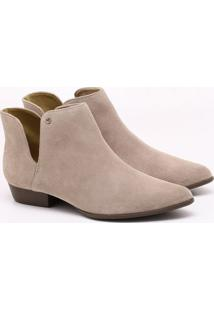 Ankle Boot Camurça Bege Taupe