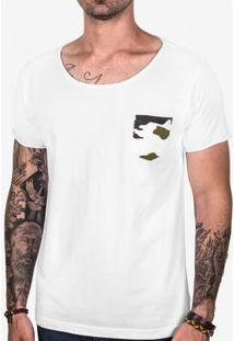 Camiseta Branca Bolso Camuflado 102423
