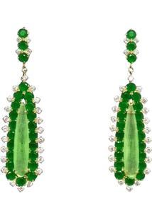 Brinco Visujóias Pedra Verde Cravejado Com Zirconias Folheado A Ouro 18K