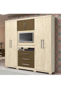 Roupeiro Multifuncional 06 Portas 03 Gavetas Com Painel Para Tv De 32 Dubai