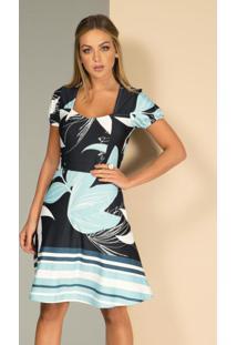 Vestido Floral Azul Com Bolsos Funcionais