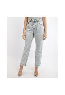 Calça Jeans Feminina Mindset Reta Cropped Cintura Alta Azul Claro