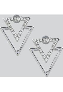 Brinco Feminino Triângulos Com Strass Prateado - Único