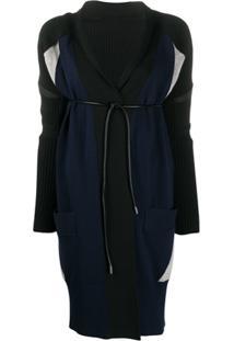 Sacai Belted Long-Sleeve Cardigan - Preto