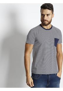 Camiseta Com Bolso - Azul Marinho & Brancavip Reserva