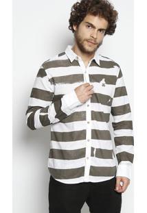 Camisa Cicero Em Linho - Branca & Verde Escuro - Johjohn John