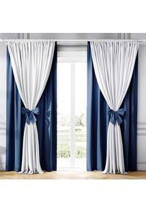 Cortina Clássica Com Laços Branco E Azul 2,30M Grão De Gente Azul