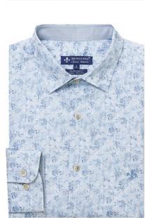 Camisa Dudlaina Manga Longa Tricoline Estampa Floral Masculina (Estampado, 5)