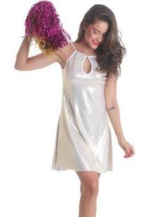 Vestido Líquido Decote Gota Carnaval Brilhos Feminino - Feminino-Branco