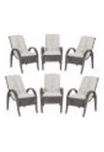 Cadeiras 6Un P/ Jardim Lazer Edicula Varanda Descanso Fibra E Tramas Napoli Plus Tabaco A12