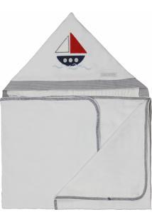 Toalha De Banho Malha Naval Minha Casa Baby Marinho E Branco,