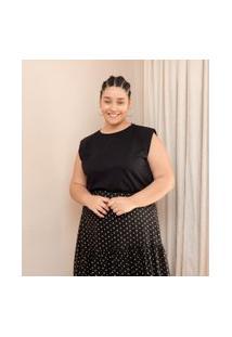 Blusa Lisa Em Algodão Com Ombreiras Curve & Plus Size   Ashua Curve E Plus Size   Preto   G