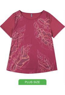 Blusa Em Tecido Estampada Vermelho