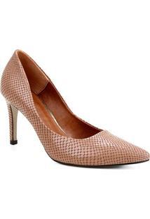 Scarpin Couro Shoestock Salto Alto Cobra - Feminino-Rosê