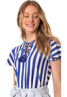 Blusa Maria Filó Listrada Azul/Off-White