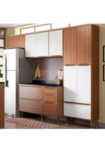 Cozinha Compacta Com Tampo 6 Peças 5464 Calábria - Multimóveis - Nogueira / Branco