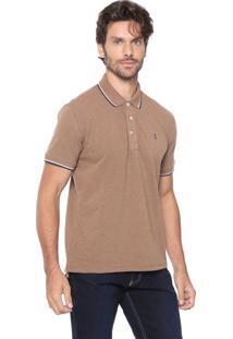 Camisa Polo Sergio K Reta Básica Caramelo