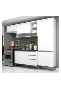 Cozinha Completa Multimóveis Suíça 5195Ml Com Balcáo 10 Portas 2 Gavetas Branco