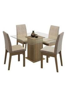Conjunto Sala De Jantar Madesa Laila Mesa Tampo De Vidro Com 4 Cadeiras Rustic/Fendi Rustic/Fendi