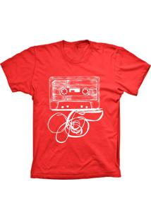 Camiseta Baby Look Lu Geek Fita K7 Vermelho