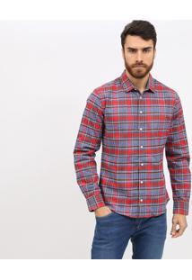 Camisa Slim Xadrez Com Bordado Da Marca - Vermelha & Azucolcci