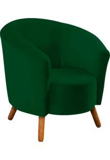 Poltrona Decorativa Angel Suede Verde Com Pés Palito - D'Rossi