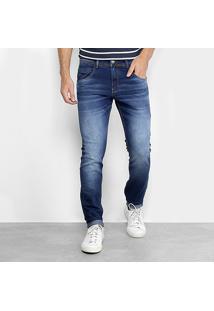 Calça Jeans Slim Zune Estonada Masculina - Masculino-Azul