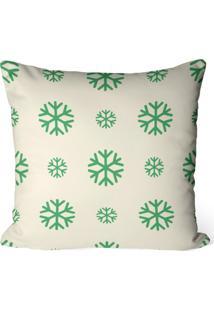 Capa De Almofada Love Decor Avulsa Decorativa Flocos Natalinos Verdes - Off-White - Dafiti