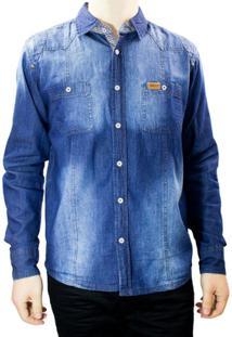 Camisa Jeans Masculina Gangster 15.13.0043 - Masculino-Azul