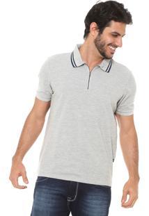 Camisa Polo Hering Zíper Cinza