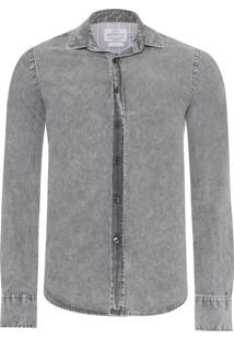 Camisa Masculina Jeans - Cinza