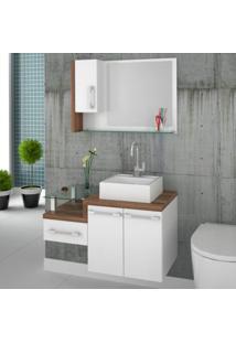 Gabinete Para Banheiro 2 Portas 1 Gaveta Com Cuba Q35 E Espelheira Legno 830W Compace
