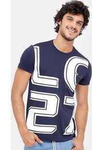 Camiseta Lacoste Estampada Masculina - Masculino-Marinho