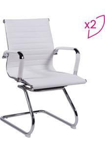 Jogo De Cadeiras Office Eames Esteirinha- Branco & Prateor Design