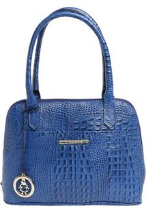 Bolsa De Mão Em Couro Com Bag Charm - Azul - 31X24X1Di Marlys