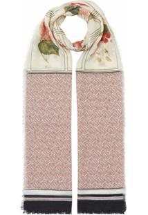 Burberry Echarpe Com Estampa Botânica Monogramada - Rosa