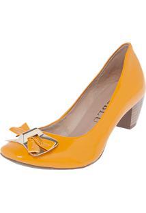 Scarpin Fiveblu Laço Bico Quadrado Salto Grosso Amarelo