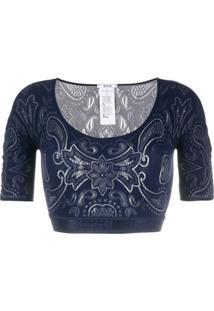 Wolford Blusa Cropped Com Bordado Om - Azul