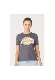 Camiseta Nba Feminina Estampada Big Logo Los Angeles Lakers Cinza Mescla Escuro