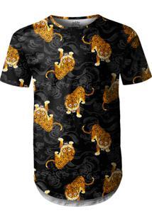 Camiseta Longline Over Fame Tigre Japonês Preto