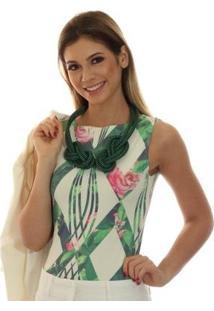 Regata Ficalinda Decote Canoa Feminina - Feminino-Bege+Verde