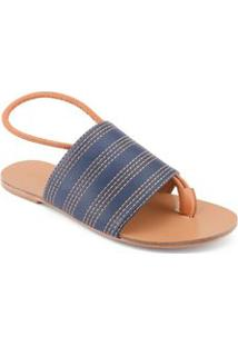 Sandalia Rasteira Costuras Contrastante Azul