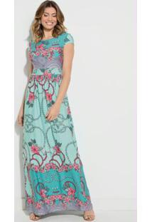 Vestido Longo Floral Turquesa Com Manguinhas