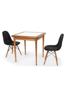 Conjunto Mesa De Jantar Em Madeira Imbuia Com Azulejo + 2 Cadeiras Botonê - Preto