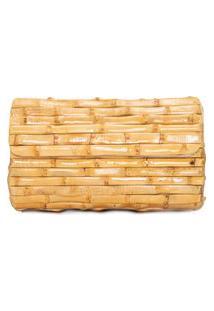 Clutch Feminina De Bambu - Bege