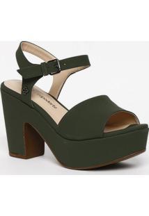 Sandã¡Lia Meia Pata Com Tag - Verde Escuro- Salto: 9,Capodarte
